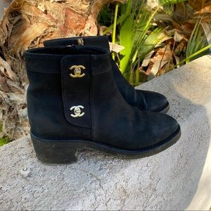 🎉Authentic CHANEL Turn Lock CC Logo Ankle Boots